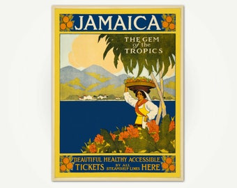 Jamaica, the Gem of the Tropics Travel Advertising Poster Print - Vintage Jamaican Travel Poster Art