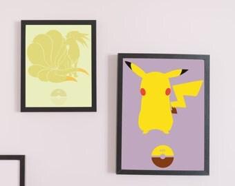 Pikachu #025 - Pokemon (GO) A3/A2 250gsm Vector Poster Print