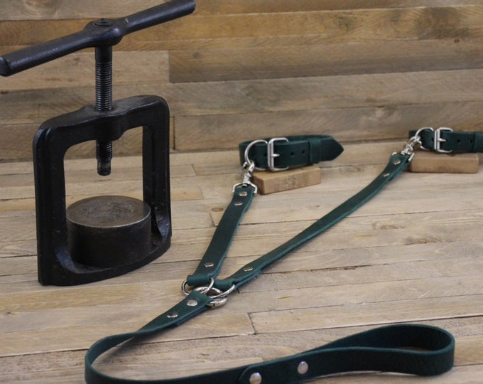 Dog leash, Double Dog Leash, Deep ocean leather lead, 1'' Width, Handmade two leashes, Dog walk, Pet gift, Pet supplies, Leather coupler .
