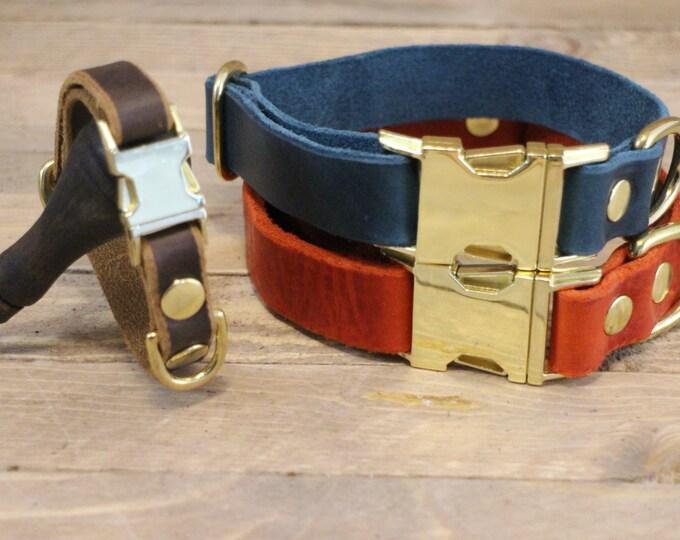 Dog collar, Clip collar, FREE ID TAG, Leather clasp collar, Blue dog collar, Gift, Buckle collar, Medium size collar, Small size collar.