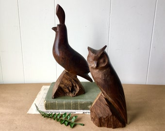 Vintage Hand Carved Solid Wood Animals - Owl and Patridge Sculpture - Art Collectible Bird - Glossy Deep Brown - Wooden Animal
