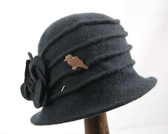 Green Handmade 1920's Wool Cloche Phryne Miss Fisher Hat