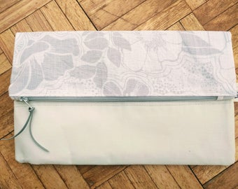 Handmade White & Cream Floral Clutch Bag