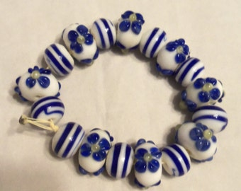Lampwork Flower and Striped Beads (1925)