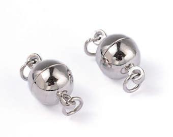 5 sets Silver Tone Round Magnetic Clasps 14x8mm (B165k)