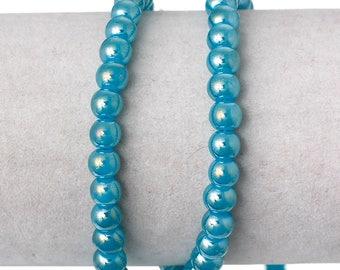 "Full 31.5"" Strand 6mm Glass Beads Blue AB (B174a)"