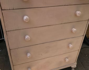 Shabby Chic Chest of Painted 5 Drawers