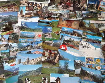 Swiss postcards from the 1960s to 1980s. 67 colour postcards, collectible ephemera, vintage postcards from Switzerland.