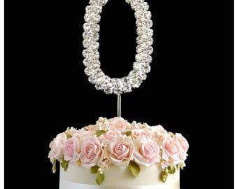 Rhinestone Crystal Birthday Anniversary Cake Topper Number Pick L0 topperDiamante Gems Decoration - L0topper