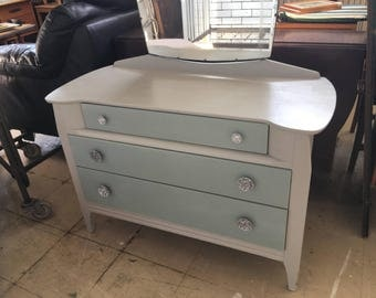 Hand painted Lenus dressing table  painted using chalk paint (Soft Grey) & Troubled Water
