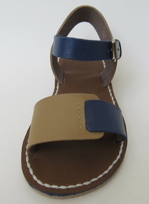 Children Sandals, Blue/Beige,Leather, Girls Sandals,Summer