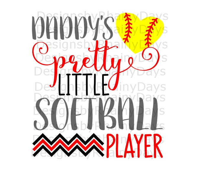 Buy 3 get 1 free! Daddy's pretty little softball player cutting file, SVG, DXF, png, daddy and daughter, softball cutie, softball design