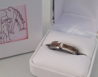 Stainless Steel Ring w/Horse Hair Inlay & Cubic Zirconia