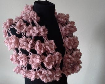Crocheted Pink Shawl With Payette