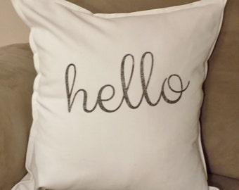 hello pillow, hello pillow cover, throw pillow, hello, decorative pillow, pillow cover, hello cushion, quote cushion,