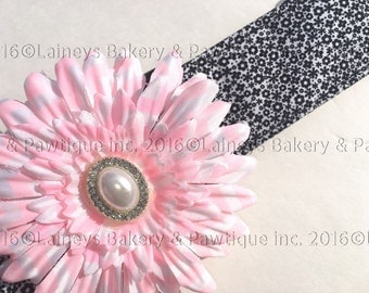 Laineys Tiny Black and White Flowers Material Dog Collars