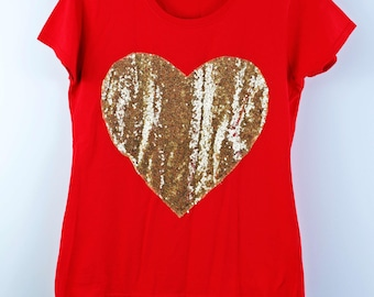 Golden Love tee, women's tshirt - gold sequins heart on red cotton - gift for her - by Monikatees