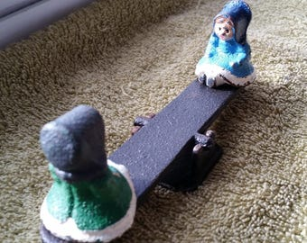 Vintage Cast Iron Amish Girls on See Saw / Teeter Totter