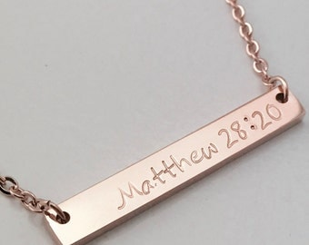 Personalized Bar Necklace - Rose Gold Necklace - Bible Verse Necklace - Scripture Necklace - Personalized Necklace - Bridesmaid Gift - Rose