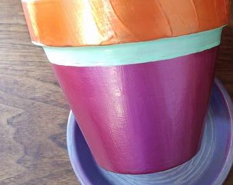 """6"""" Painted Terra Cotta Pot w/saucer"""