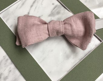 Dusty Pink Bowtie, Linen Bowtie, Groomsmen Bowtie, Pastel Pink Wedding Groom Bowtie, Father's Day Gift
