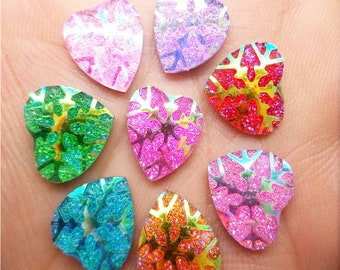 Heart Flatbacks, Snowflake Cabochon, Snowflake Hearts, Sparkly Hearts, Sparkly Flatbacks, Mixed Hearts, 12mm Cabochons, 12mm Hearts