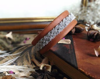 Bracelet in leather and Tin wire | Inspiration jewelry Scandinavian and territory | Tenntrad
