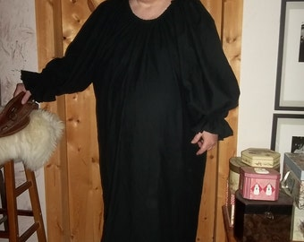 Plus size black flannel nightgown