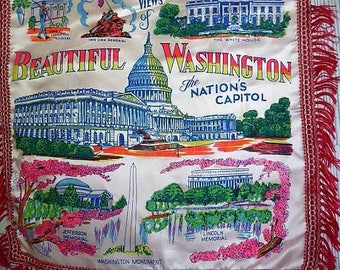 Washington D.C. Pillow Cover ....  Colorful Crafting Fabric Supply --  Re-make , Re-use , Re-imagine