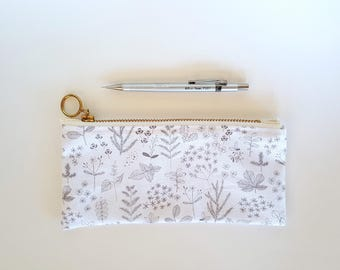 Gray and White Leaves and Flowers Drawing Pencil Pouch With Gold Zipper