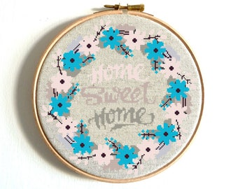 Floral Cross Stitch Printable PDF Pattern, Home Sweet Home Modern Embroidery Chart Flower natural  Wall Art Decor Birthday DIY Gift Wedding