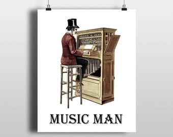 Music Man Printable, Pipe Organ Illustration, Vintage Music Poster, Old Fashioned Piano Sign, Instant Digital Download, DIY Musical Gift
