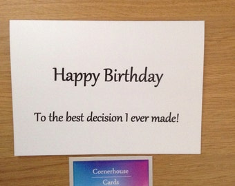 Birthday card for husband, card for wife, birthday card for boyfriend, girlfriend or partner