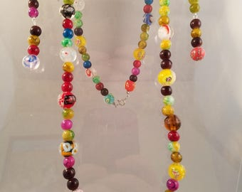 Millefiori Beaded Necklace and Earrings