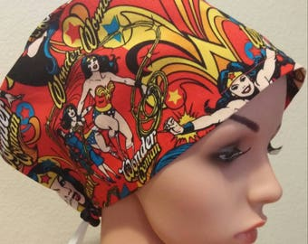 Women's Surgical Cap, Scrub Hat, Chemo Cap, Wonder Woman