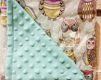 Baby Owl blanket with a Teal Minky |baby blanket