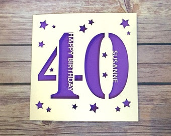 Personalised 40th Birthday Card, Daddy 40th Card, Mummy 40th Card, Forty Card, Happy 40th, Personalised 40th Gift, Handmade Card, Lasercut