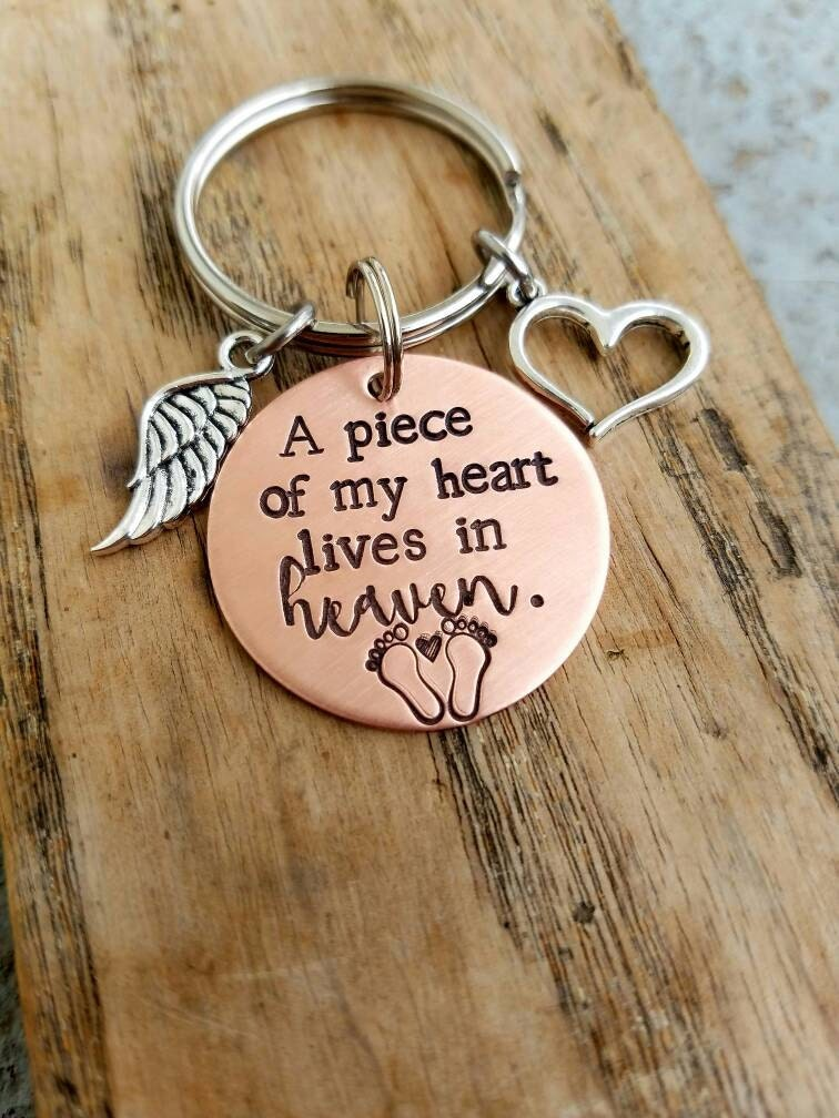 hand stamped infant loss memorial keychain sympathy gift loss of