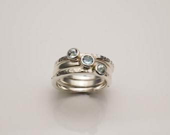Hand Made Silver Stack rings set with Aquamarines