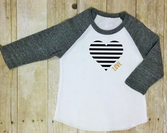 Valentines Shirt- Gold Glitter- Girls Valentine Shirt-Raglan Sleeve-Gray-Valentine Shirt-Girls Raglan Sleeved Valentines Day Shirt