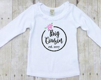 Big Cousin Shirt-Girls Big Cousin Shirt-Big Cousin Tshirt-Big Cousin Announcement Shirt-Girly Big Cousin Shirt-New Baby Cousin Shirt-Glitter