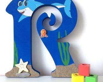 Large wooden letter, Blue letter, Decorated letter, Nursery decor, Children's bedroom, Under the sea theme, Shark
