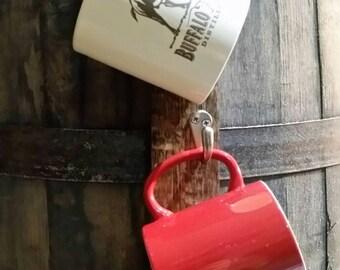 Coffee Cup Rack With 5 Satin Nickel Hooks