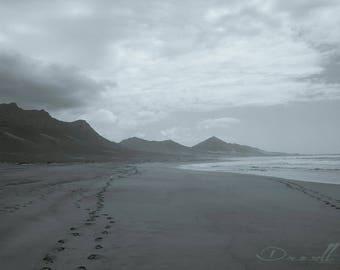 Footprints • Minimalist Fine Art Coastal Landscape Photograph. Cofete, Fuerteventura. Desert Island. Beach House Decor. Seascape Wall Art.