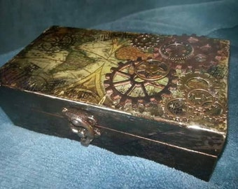 Steam punk inspired, globe trotting trinket box.