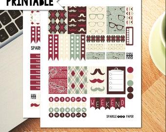 Dapper Mustache Printable Weekly Medium Happy Planner Layout Stickers