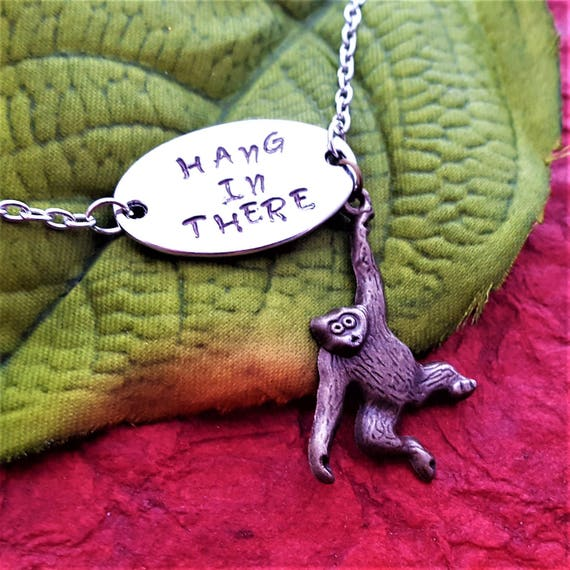 Hang in There, Monkey Ape Gorilla Charm Necklace, CrossFit Gifts, Fitness Jewelry, Encouragement Gifts Her, Motivational Quotes, Word Charms