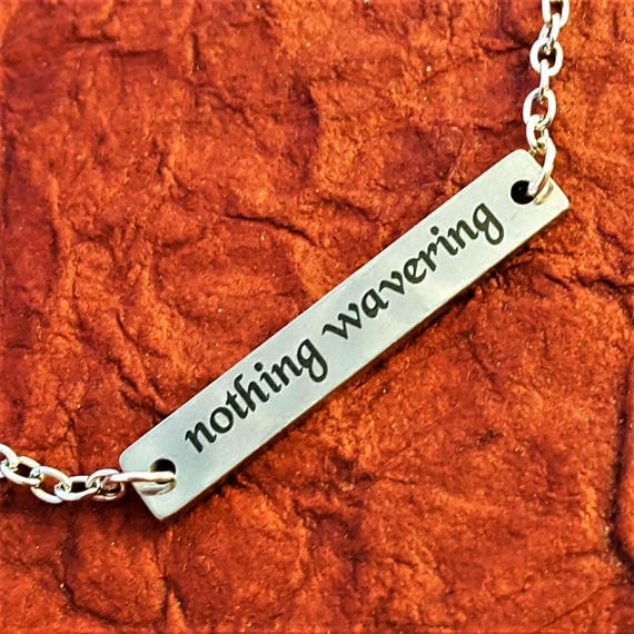 LDS Jewelry, Young Women Necklace, Mormon LDS Charms, Nothing Wavering Bar Necklace, Inspirational Word Quotes Gifts, Motivational Gifts