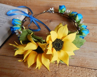 Sunflower crown Woman headband Sunflower wedding headpiece Yellow blue rose flower crown Ukraine wreath Flower headpiece Bridesmaid crown