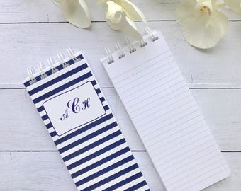 Spiral Bound Note Pads, To-Do List, Set of 3 Note Pads, Personalized Note Pads, Striped Notepad, Monogrammed Notepad, Grocery List Pad